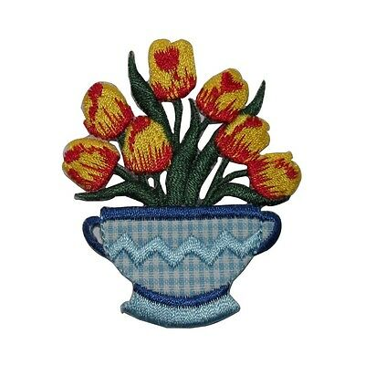 ID 7068 Yellow Red Tulip Vase Flower Plant Iron On Embroidered Patch Applique