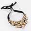 Fashion Women Rhinestone Geometric Choker Bib Statement Black Ribbon Necklace