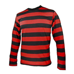 Adult-NYC-Long-Sleeve-PUNK-Menace-Stripe-Striped-Shirt-Black-Red-Men-039-s-S-M-L-XL