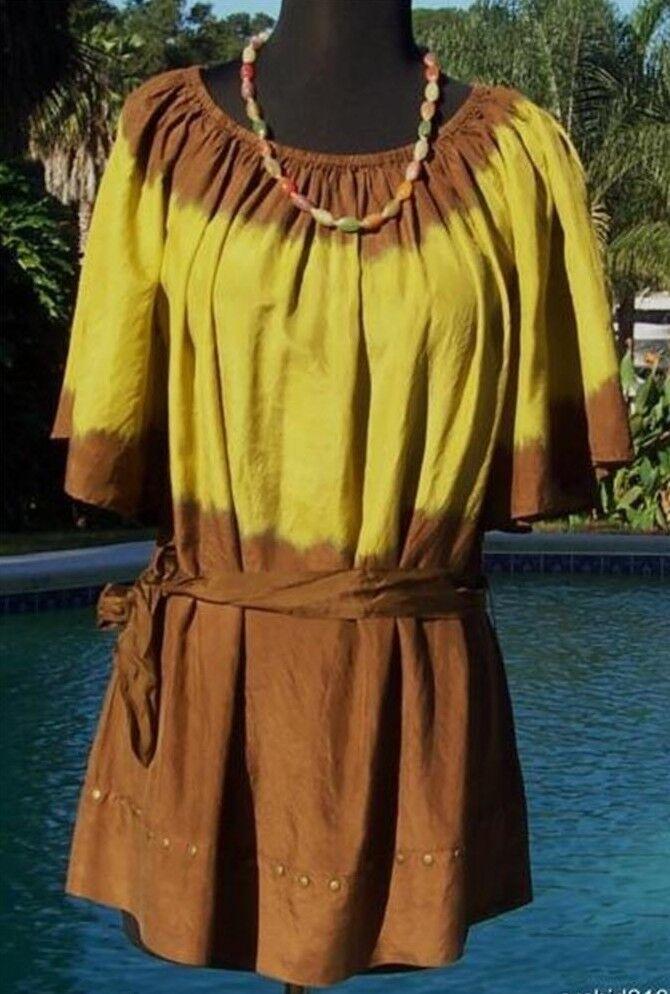 Cache Silk Peasant BOHO braun Tie Dye Nail Head Top New Größe S M  NWT