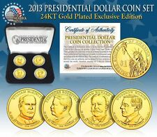 2013 USA MINT GOLD PRESIDENTIAL $1 DOLLAR 4 COINS SET WITH BOX