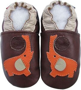 carozoo number dark brown 6-12m soft sole leather baby shoes