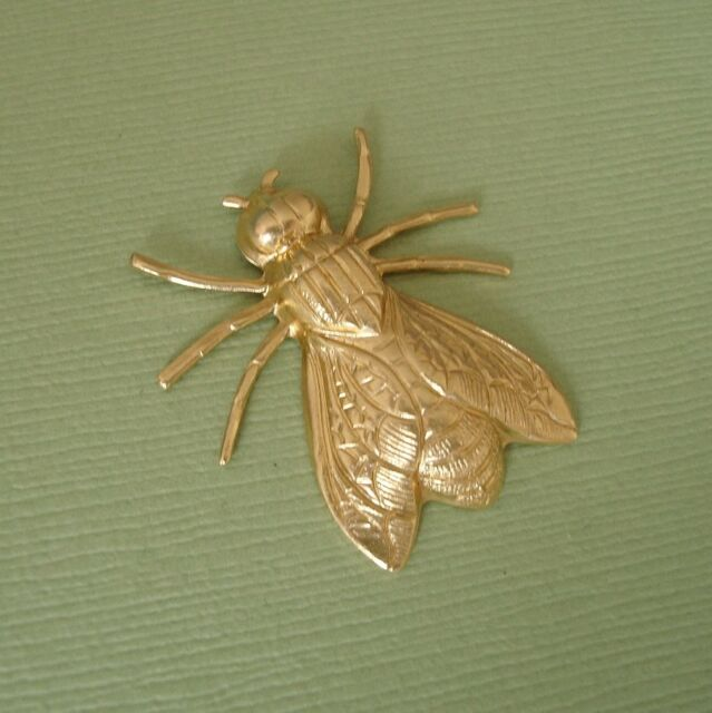 1-Large Fly Insect Brass Stamping Ornament Pendant Jewelry Findings.