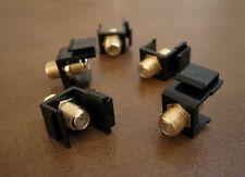 5 x F Insert Keystone Coax Coaxial Jack Connector Cable Sat TV Adapter Black