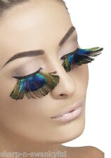 Ladies Long Peacock Feather False Eyelashes Moulin Rouge Hen Party Fancy Dress