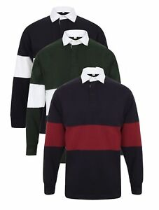 c03eaafff0c0 Mens BLUE BURGUNDY or WHITE Panelled Striped Long Sleeve Rugby Shirt ...