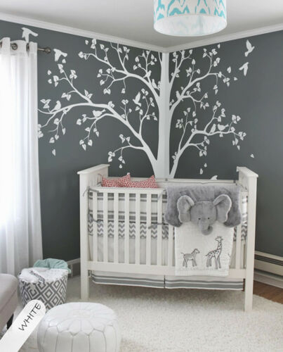 Large tree decal Huge White Tree wall decal Stickers Corner Wall Decals 086