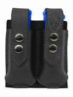 Barsony Black Leather Double Magazine Pouch Steyr Walther Full Size 9mm 40