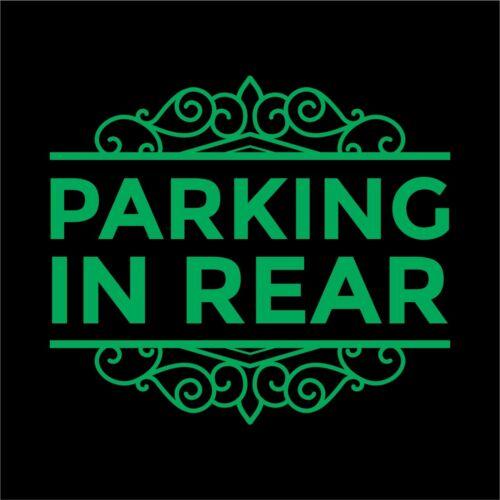Door Store Window Decal Business Sign Parking in Rear Vinyl Decal Sticker