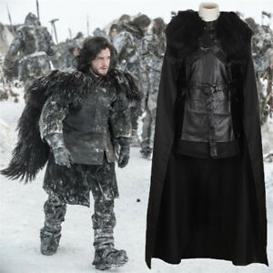 Game of Thrones Jon Snow Costume Outfit Black Warrior Cosplay robe ensemble complet