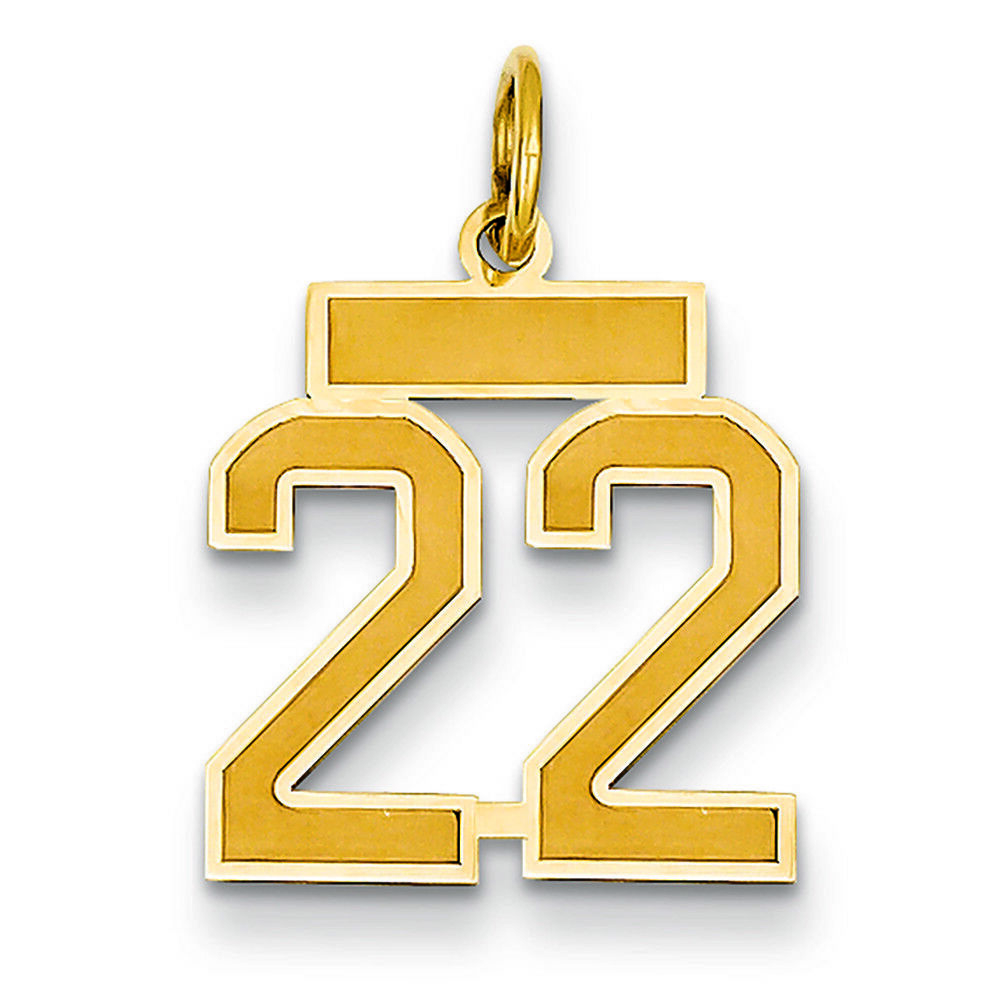 14K Yellow gold Small Satin Number 22 Charm Pendant MSRP  206