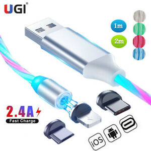 Magnetic-Cable-Flowing-Light-LED-Micro-USB-Cable-For-Samsung-S10-Type-C-iOS-1-2M