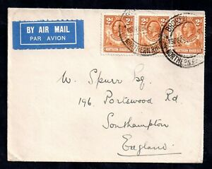 Northern-Rhodesia-KGV-1932-2d-strip-on-Airmail-Cover-to-UK-WS17573