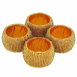 Artist Haat Table Decoration Beads Napkin Rings Set of 4 Home Decor Gift Item