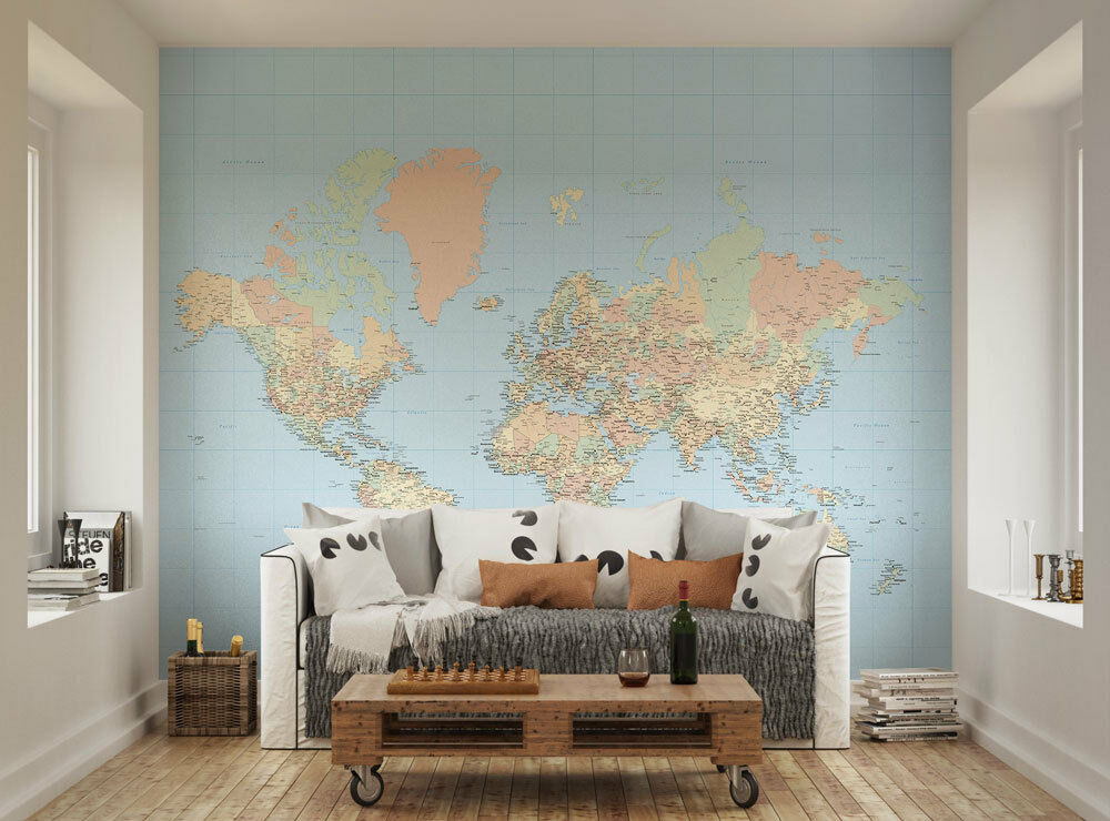 Ohpopsi World Map Classic Map of the World Wall Mural Wall Art XL
