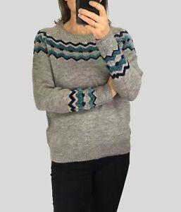 Piaza-Italia-Womens-Ladies-Grey-amp-Teal-Chenille-Fairisle-Cosy-Jumper-Knit-S-XL