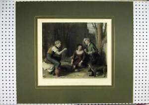 Old-Antique-Print-C1860-Hand-Coloured-Children-Playing-Cherry-Dog-Bourne-19th