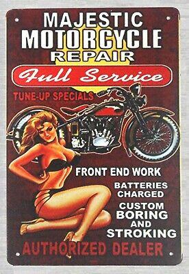 Metal Tin Sign Majestic Moto repari Home Vintage Rétro Poster CAFE ART
