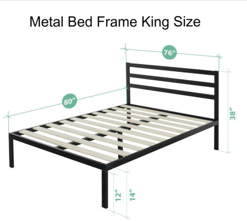 """Platform Bed Frame with Headboard Black Twin Full Queen King Size 14/"""" Furniture"""