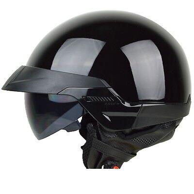 Size L - PGR B20 Gloss BLACK Aviator Motorcycle DOT Half Helmet Chopper Harley