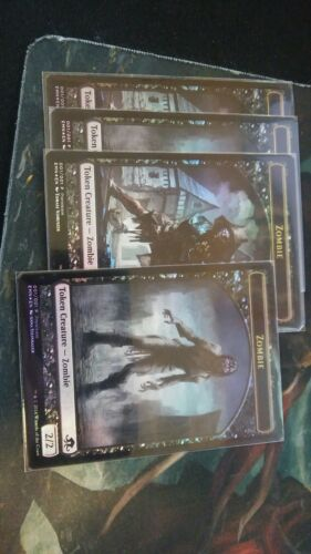 4x Double sided FOIL zombie promo tokens MTG magic the gathering