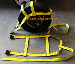 Car Tire Basket Straps Adjustable Wheel Net Set Flat Hook Fit DEMCO Tow Dolly