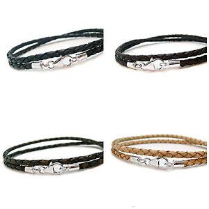 HOMMES-FEMMES-CUIR-BRACELET-bracelet-3mm-TRESSE-DOUBLE-wrap-sterling