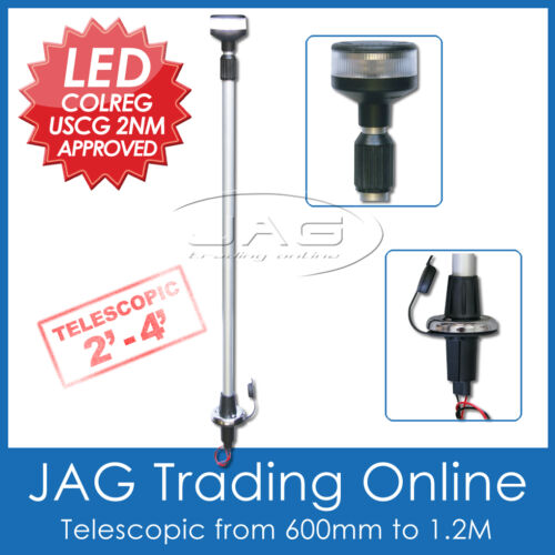 LED 2-4FT TELESCOPIC ANCHOR LIGHT Plug-in Navigation Stern//Boat//Yacht//Nav//Marine