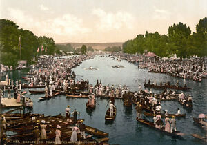 "Henley Regatta London Print A3 17/""x12/"" PS2 Vintage 1890/'s Photochrom Photo"