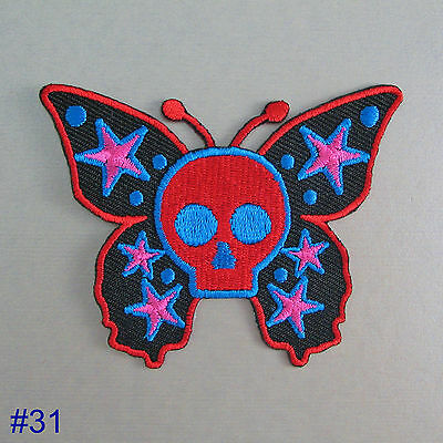 Girls Iron On / Sew On Cloth Patch Badge Appliqué motif goth emo punk rock chick