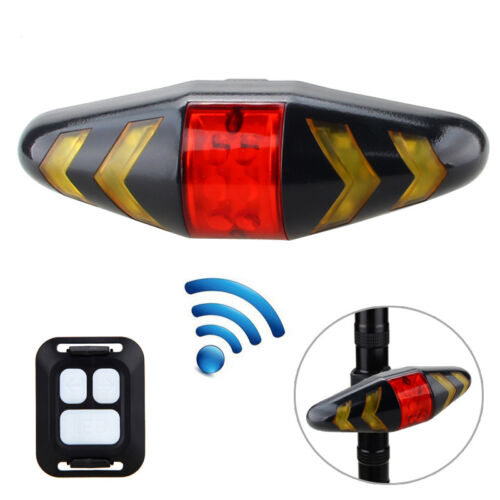 5LED Remote Control Rechargeable Bike Rear Taillight Turn Signal Laser Wireless