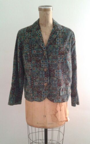 Ditsy Print 1960's Brown Teal Cord Cropped Jacket - image 1