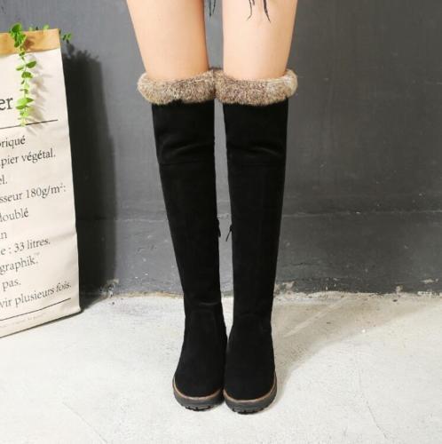 Ladies Cuban Heel Winter Fur Lined Shoes Round Toe Warm Over Knee Boots Zipper
