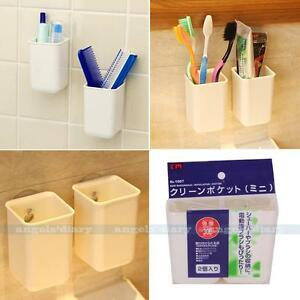 Image Is Loading 2pcs Bathroom Toothbrush Holder Wall Mount Suction Cup