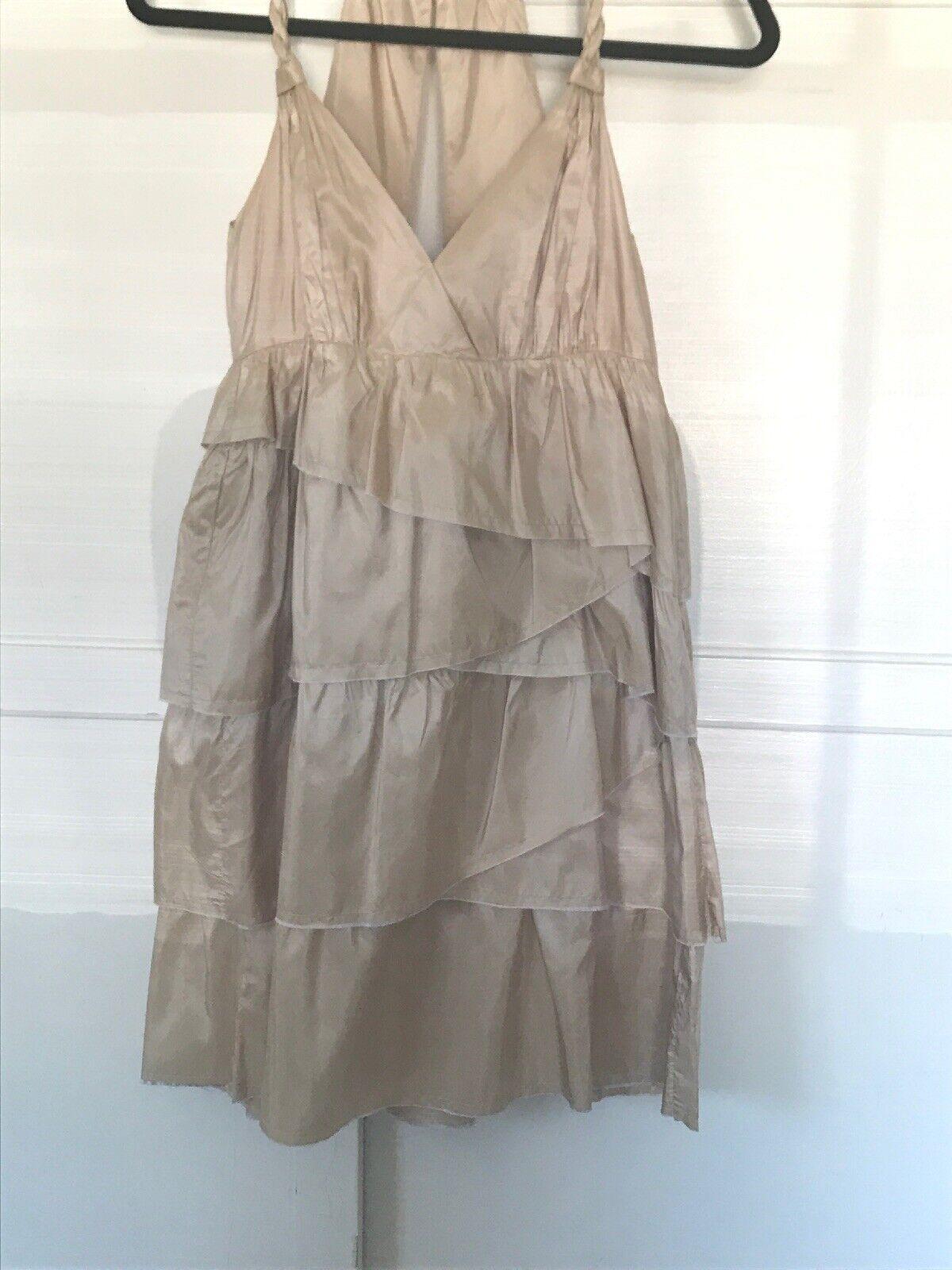 Calypso St Barth Celle Juno Silk Dress Beige Nude Braided Tierot Medium