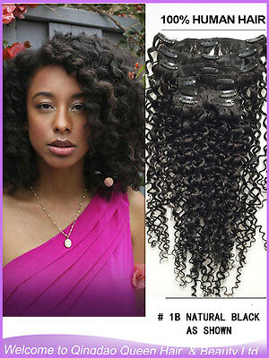 Jerry Curl Clip In Human Hair Extension Jerry Curly Clip On Hair Natural Black