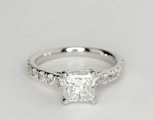 2.05 Ct Princess Genuine Moissanite Engagement Ring 14K Solid White Gold Size 5