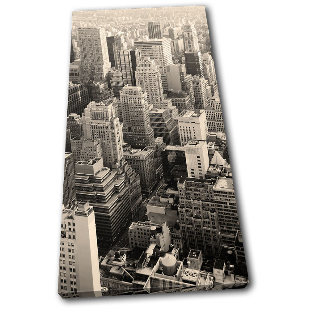 nouveau york skyline sepia city single toile wall art photo print