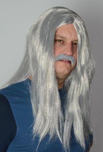 Old Hippy Men/'s Long Grey fancy Dress Wig /& Droop Moustache Set