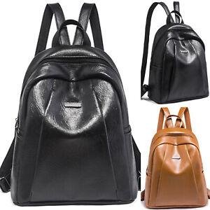 Damen-Leder-Rucksack-Maedchen-Schultasche-Cityrucksack-Schule-Backpack-Tasche-Bag
