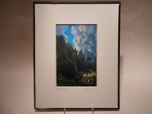 """Liz Collins 8x10 Print """"November"""" Cozy Mountain Cabin in Woods Matted with Glass"""