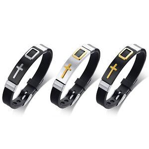 3pcs-Men-039-s-Stainless-Steel-Cross-ID-Silicone-Cuff-Bangle-Bracelet-Wristband-Set