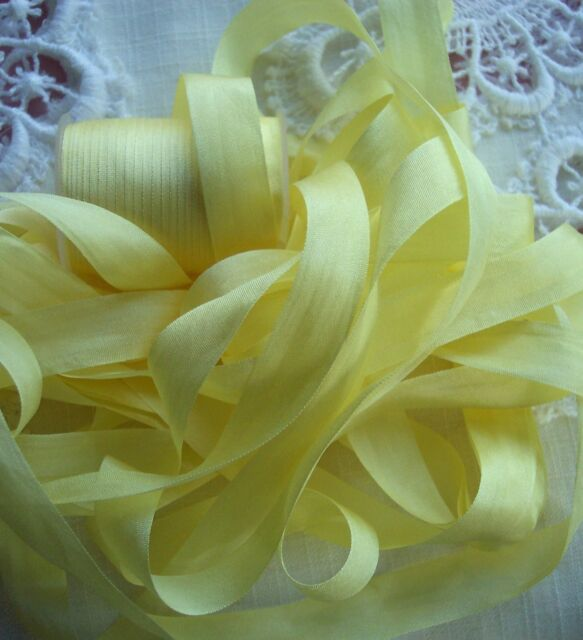 "100% PURE SILK SATIN  RIBBON 1/2""[13MM] WIDE 9 YD SPOOL  P/YELLOW"