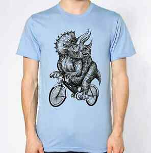 Triceratop-T-Shirt-Dinasour-Riding-Bike-Top-Bicycle-Funny
