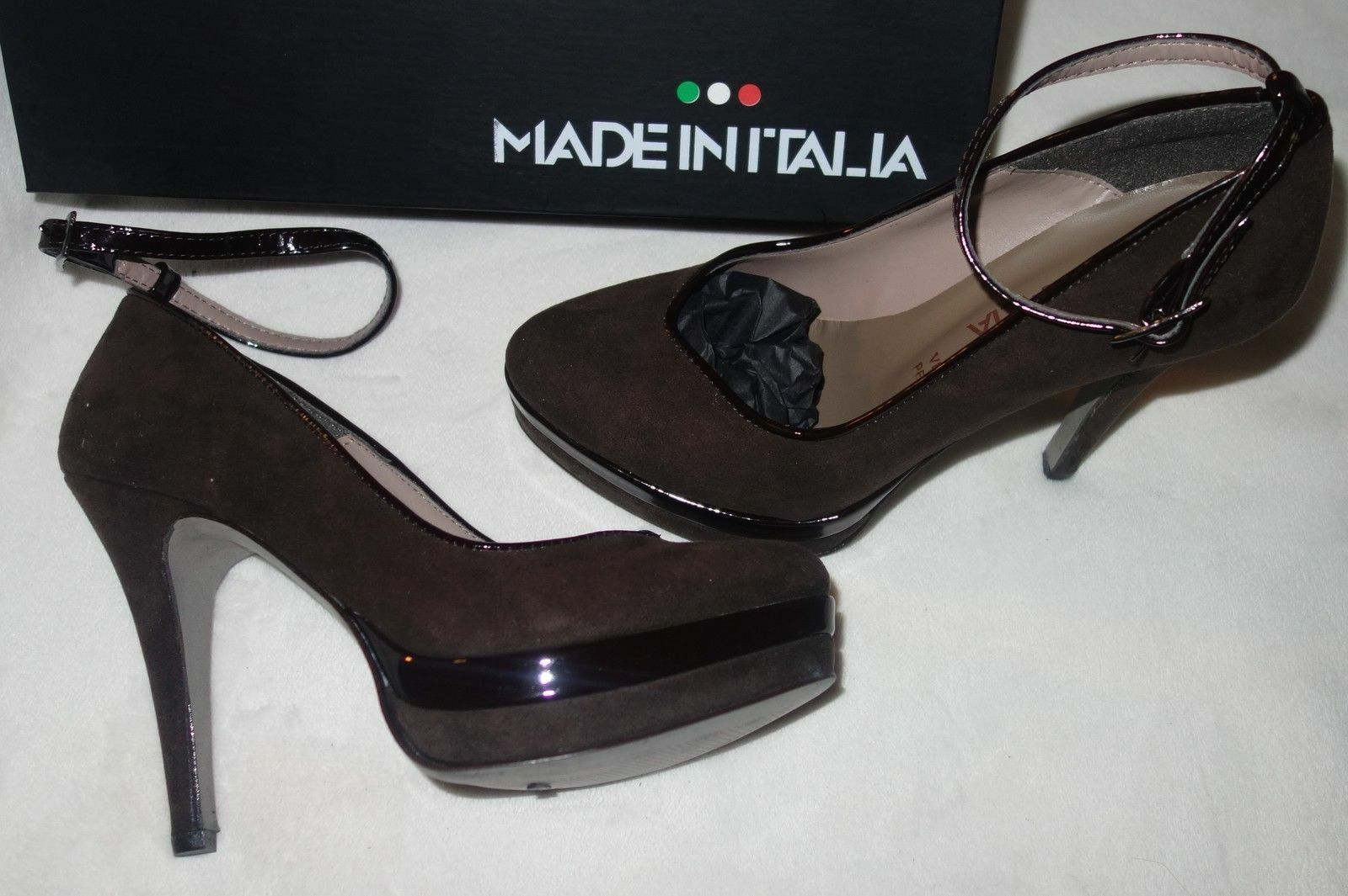 Made in Italia Platform Pumps dark brown Suede shoes  Size 36 US 7 New