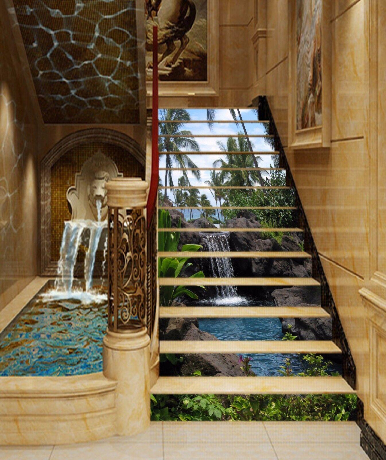 3D Tree Pond 864 Stair Risers Decoration Photo Mural Vinyl Decal Wallpaper AU