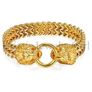 9-034-Heavy-Gold-Tone-Lion-Head-Bracelet-Stainless-Steel-Figaro-Rolo-Chain-for-Men