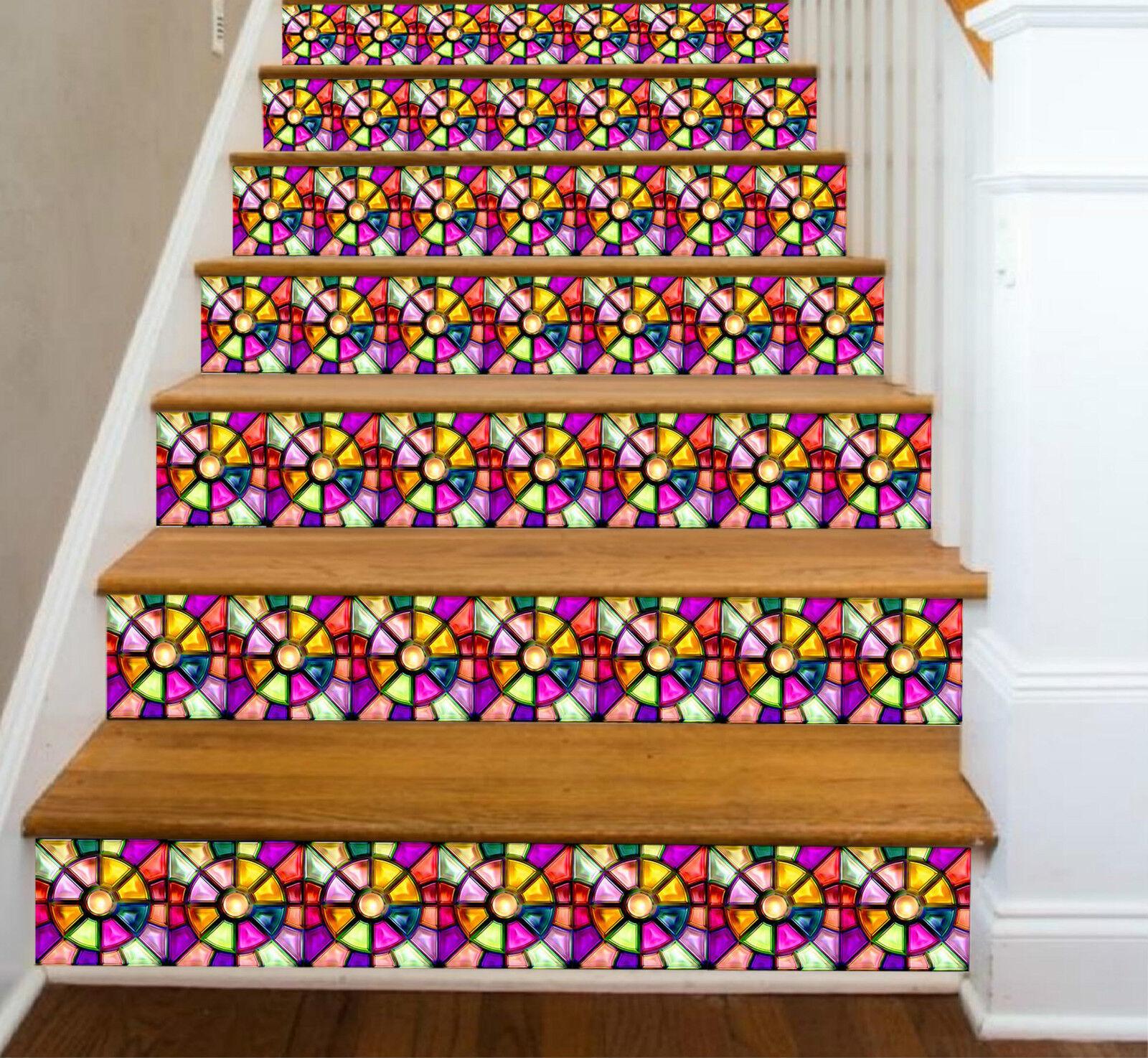 3D Farbe Spleiß 736 Stair Risers Dekoration Fototapete Vinyl Aufkleber Tapete DE