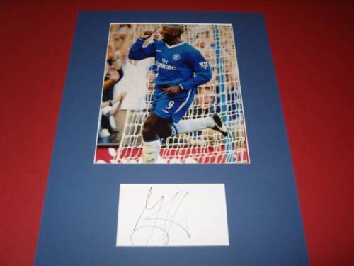 Jimmy Floyd Hasselbaink Chelsea FC signed card & photo mount COA AFTAL