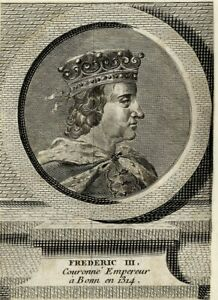 Portrait-de-Frederic-III-Le-Beau-Gravure-originale-du-XVIIIeme-siecle